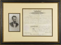 "Autographs:U.S. Presidents, Abraham Lincoln Document Signed as President. One page, 14"" x 12"",partly-printed document on vellum, Washington, September ..."