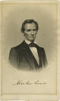 "Autographs:U.S. Presidents, Abraham Lincoln: A Wonderful Form of his Autograph for Display. ""Abraham Lincoln,"", 4.75"" x 8"", clipped signature, np, n..."