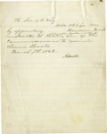 "Autographs:U.S. Presidents, Lincoln Appoints a Ship Builder ""If No Valid Objection."" Letter Signed ""A. Lincoln"", with six words in Autograph ""if n..."