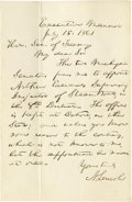 "Autographs:U.S. Presidents, Abraham Lincoln Autograph Letter Signed ""A. Lincoln"". One page, 4.5"" x 7"", Executive Mansion [Washington D.C.], July 18,..."