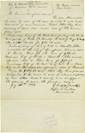 Autographs:U.S. Presidents, Abraham Lincoln Unsigned Autograph Document. No place (SangamonCo., Ill.), 25 July 1844, three-quarters page, folio. A repo...