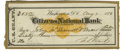 """Autographs:U.S. Presidents, Ulysses S. Grant Signed Check as President. """"U.S. Grant"""". National Bank of Washington City, August 7, 1876. Accomplished..."""