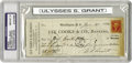 "Autographs:U.S. Presidents, Ulysses S. Grant Check Signed, ""U.S. Grant"", 2.75"" x 7"", Washington, D.C., January 25, 1866. Drawn for $275 on the bank ..."