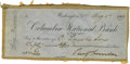 "Autographs:U.S. Presidents, Benjamin Harrison Check, Signed as President ""BenjHarrison"". August 5, 1889 check, drawn on the Columbia NationalBank ..."
