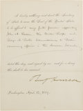 "Autographs:U.S. Presidents, Benjamin Harrison Document Signed as President ""Benj. Harrison"". One page, 6.25"" x 8.25"", partly printed, Washington, D...."