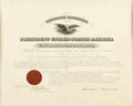 """Autographs:U.S. Presidents, President Theodore Roosevelt Document Signed. One page, 20"""" x 16"""",official document with Department of Treasury seal, Washi..."""