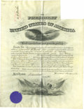 "Autographs:U.S. Presidents, Theodore Roosevelt Document Signed A partly printed military appointment signed as President, one page 15"" x 21"" December 26..."