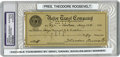 "Autographs:U.S. Presidents, Theodore Roosevelt Signed Check Endorsed by Daniel Sickles, 2.75"" x 6.5"", drawn for $50 on the Astor Trust Company, New York..."