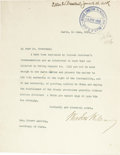 Autographs:U.S. Presidents, Woodrow Wilson Archive from The Paris Peace Conference and JapaneseExpansion in Shantung. A fascinating and important archi...