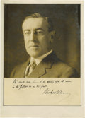 "Autographs:U.S. Presidents, Woodrow Wilson Signed and Inscribed Photograph. WoodrowWilson, one page, 9"" x 11.5"", np, 1914. Signed and inscribed as..."