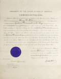 Autographs:U.S. Presidents, Woodrow Wilson and Franklin D. Roosevelt Document Signed Wilson aspresident and Roosevelt as acting secretary of the navy, ...