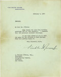 """Autographs:U.S. Presidents, Franklin D. Roosevelt Typed Letter Signed. One page, 7"""" x 9"""", White House letterhead, February 5, 1942, Washington, D.C., to..."""