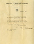 """Autographs:U.S. Presidents, Franklin D. Roosevelt Typed Letter Signed One page, 8.5"""" x 11"""", Fidelity and Deposit Company of Maryland letterhead, Novembe..."""
