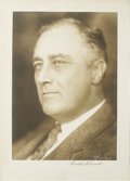 "Autographs:U.S. Presidents, Monumental Franklin D. Roosevelt Signed Photograph, 14"" x 20.5"", byHarris & Ewing, Washington, D.C. A wonderful sepia image..."