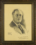 "Autographs:U.S. Presidents, Franklin D. Roosevelt Large Engraved Portrait Signed. 15"" x 18"",inscribed ""To my friend Frank Garrett from Franklin D. Ro..."