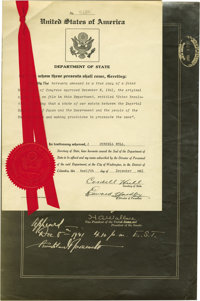 """War Declaration Signed by Secretary of State Cordell Hull """"Cordell Hull"""". Partially Printed Document Signed, o..."""