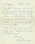 """Autographs:U.S. Presidents, Harry S. Truman Autograph Letter Signed As President. One page, 7"""" x 8.75"""", White House stationery, Washington D.C., Septemb..."""