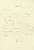 "Autographs:U.S. Presidents, Harry Truman Autograph Letter Signed ""Uncle Harry"". One page, 6.25"" x 9.25"", White House stationery, Washington D.C., Ma..."