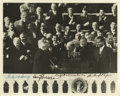 """Autographs:U.S. Presidents, Outstanding Eisenhower Inaugural Photograph Signed by Four Presidents An excellent 10"""" x 8"""" black & white photograph of Chi..."""