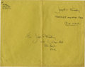 """Autographs:Celebrities, Jacqueline Kennedy Free-Franked Envelope. A large manila envelope, 12"""" x 9.5"""", with all written elements in the former first..."""