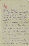 """Autographs:Celebrities, Jacqueline Bouvier Kennedy Autograph Letter Signed """"JackieXXX. Nine pages, 8"""" x 10"""", np, November 12th, no year. Onher..."""