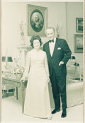 "Autographs:U.S. Presidents, Lady Bird and Lyndon B. Johnson White House Photograph Signed. 7"" x9"" color, a formal full-length pose in the White House G..."