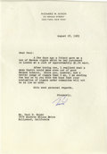 "Autographs:U.S. Presidents, Richard Nixon Typed Letter Signed ""Dick"". One page, 7.25"" x10.25"", personal letterhead, New York, August 18, 1965, to M..."