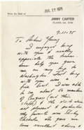 Political:Small Paper (1896-present), Very Historic Handwritten Political Letter from Jimmy Carter to Andrew Young Longhand letters by recent Presidents are few ...