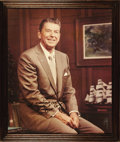 "Autographs:U.S. Presidents, Huge Impressive Ronald Reagan Signed Color Photograph 19.5"" x23.5"", framed to an overall size of 22.25"" x 26.5"", not under ..."