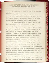 "Ronald Reagan: A Volume of 1955 Motion Picture Guild Minutes Signed by Reagan as Secretary. Eight pages, 8.5"" x 11&..."