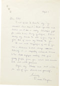"""Autographs:U.S. Presidents, Ronald Reagan: A Fine Autograph Letter Signed. One page, 7"""" x 10.5"""", on his personal """"RWR"""" letterhead, written from North Ho..."""