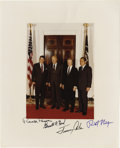 "Autographs:U.S. Presidents, Presidential Signed Photograph Featuring Nixon, Ford, Carter andReagan. Color 8"" x 10"" print showing living presidents as o..."