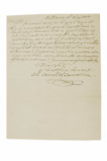 """Autographs:Statesmen, Declaration Signer Charles Carroll of Carrollton Autograph Letter Signed: """"Ch. Carroll of Carrollton"""", one page, 7.25"""" x..."""