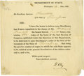 "Autographs:Statesmen, Henry Clay 1828 Document Signed ""H. Clay"". One page,partly-printed Department of State circular, Washington, June 14,1..."