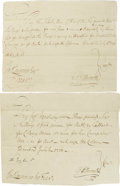 Autographs:Military Figures, Pair of Oliver Ellsworth Revolutionary Period Pay Orders forWeapons. A delegate to the Continental Congress from Connecticu...(Total: 2 )
