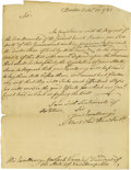 "Autographs:Statesmen, John Hancock Autograph Letter. One page, 7"" x 8.75"", Boston,October 31, 1783. Written to Meshech Weare, President of the St..."