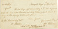 Autographs:Statesmen, John Hancock 1764 signed receipt re: cash for materials to be usedfor King George III's works at Annapolis Royal, Nova Scotia...