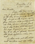 "Autographs:Statesmen, Sam Houston Autograph Letter Signed. Three pages with integraladdress leaf, 7.25"" x 9.25"", Morgantown, North Carolina, Nove..."