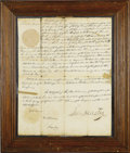 """Autographs:Statesmen, Sam Houston Document Signed. One page, 12"""" x 16"""", Nashville, September 17, 1828. A land grant for William Knowls, signed by ..."""