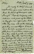 "Autographs:Statesmen, Declaration Signer Robert Morris Autograph Letter Signed ""RobtMorris"". One page, 4.75"" x 7.5"", ""Hills"", January 9, 1798..."