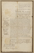 Autographs:Non-American, 1775 Massachusetts Bay Province Document Signed by James Otis,Benjamin Lincoln, Caleb Cushing, Benjamin Greenleaf, Walter S...