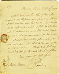 "Autographs:Statesmen, Revolutionary Author Thomas Paine, A Rare 1783 Autograph Letter Signed ""T. Paine"". One page with docketing and integral ..."