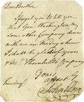 """Autographs:Statesmen, John Penn has Dinner with George Washington, Autograph LetterSigned. One Page, 4"""" x 5"""" np, Tuesday, In full; """" DearBroth..."""