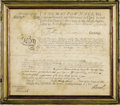 "Autographs:Military Figures, Thomas Pownall Signed French & Indian War Commission. One page,14"" x 12"", February 20, 1760, Massachusetts Bay. A partly-pr..."