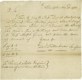 "Autographs:Military Figures, David Rittenhouse Signed Revolutionary War Dated Order ""Davd.Rittenhouse Treasurer"". One page, 6.5"" x 7"", Philadelphia,..."