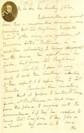 """Autographs:Military Figures, """"Fuss & Feathers"""" Winfield Scott Autograph Letter Signed recommends the arrest of a fellow war hero for being drunk. Two pag..."""