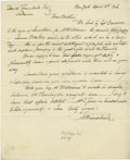 """Autographs:Artists, John Trumbull Autograph Letter Signed """"Jno Trumbull"""", onepage, 8"""" x 10"""", New York, April 18, 1816. John Trumbull is kno..."""