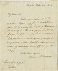 "Autographs:Statesmen, Daniel Webster Autograph Letter Signed ""D. Webster"". Onepage, 8.5"" x 10"", Boston, October 20, 1828. A letter of introdu..."