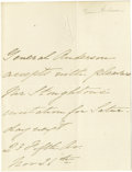 "Autographs:Military Figures, ""Hero of Fort Sumter"" Robert Anderson Autograph Letter Signed inthe third person ""General Anderson"". One page, 4"" x 5.2..."