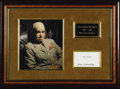 "Autographs:Military Figures, General Omar Bradley Official Card Signed ""Omar N Bradley"",4.25"" x 2.5"". Five embossed stars highlighted with silver ar..."